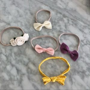 Lot of infant bows total of 5 rose cream purple